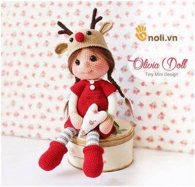 Chart móc búp bê tuần lộc Amigurumi Doll Olivia