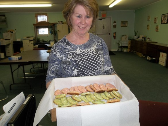 Maryann getting ready to bring our local Onancock Fire Company some cookies for all their hard work.  (Picture from last week)