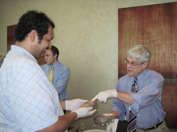 Zel and Dr. Aravitch checking out a lung and a brain as they discuss anoxic brain injury!!