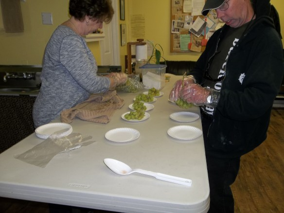 Maryann & David getting a healthy snack ready for the No Limits Film Series.