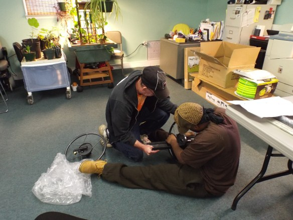 David & Steve building the accessible hose reel we purchased through our Community Garden grant from Eastern Shore Healthy Communities/Eastern Shore Health District grant. This is just part of all the wonderful things they are providing to help with our Community Garden!