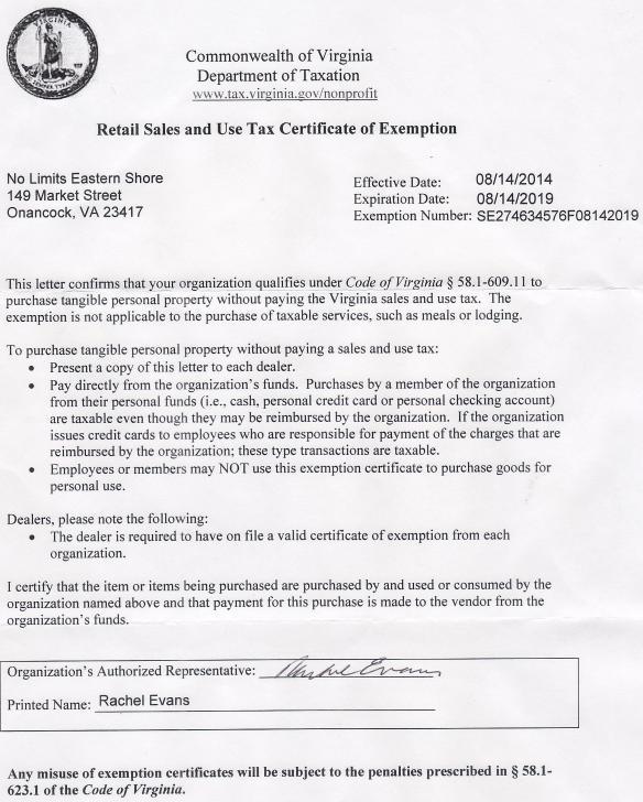 VA Tax Exempt Status