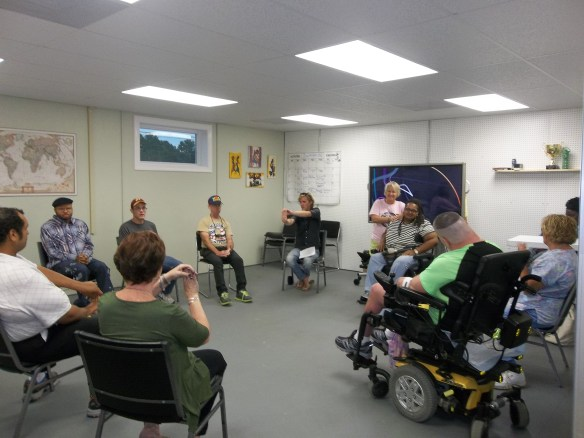 """A scene from our United Way Exercise Group, with Massage Therapist Betsy Pinder. Amy says, """"She's a good person!"""". We are so grateful to the United Way of Virginia's Eastern Shore for sponsoring this group."""