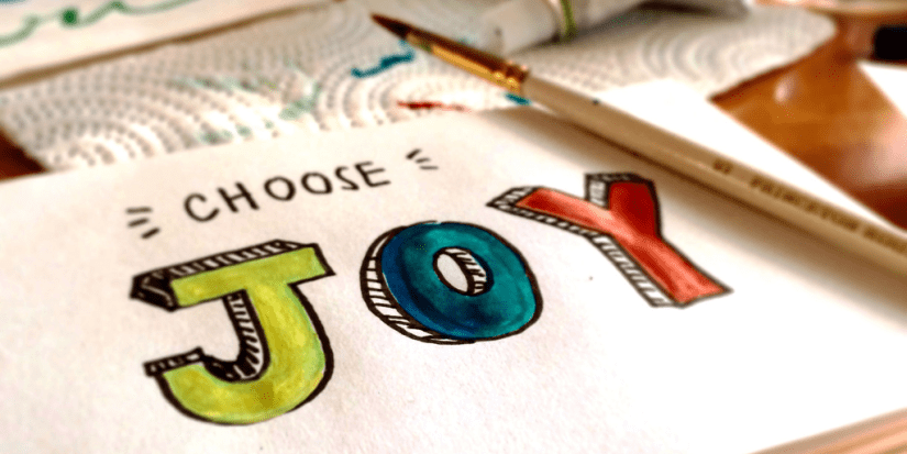 "A watercolor picture of the words ""Choose Joy"""