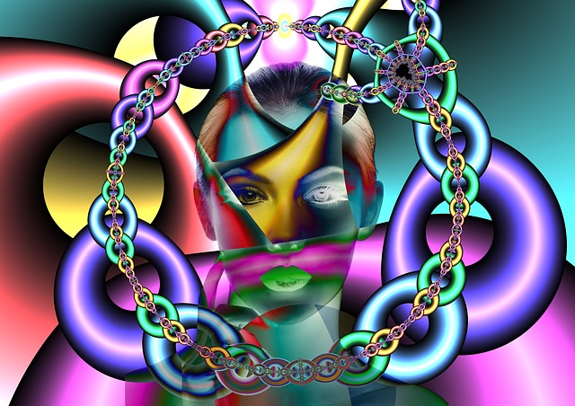 A fragmented, colorful picture of a lady with chains stuck to her mind to represent spiritual deception.