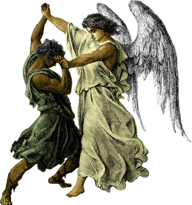 Jacob wrestles with an angel during his travels. This shows salvation is both God's choice and ours.
