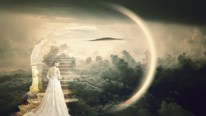 """This is a stylized picture of """"Heaven"""" with a woman in a long white dress about to ascend a staircase in the clouds."""