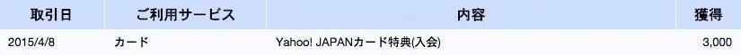 Yahoo! JAPANカード Tポイント付与