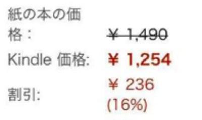 Kindleと紙の書籍の価格