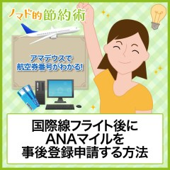 ANAマイルの事後登録・後付け申請から付与されるまでの流れを徹底解説!アマデウスで航空券番号がわかる