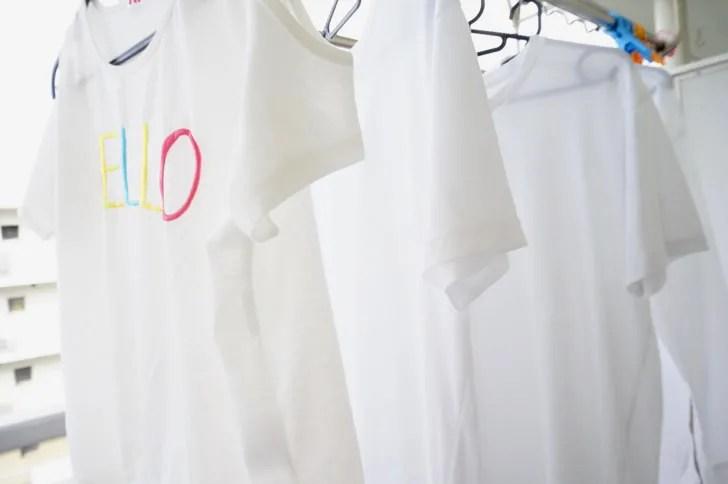 コストコのオキシクリーン(洗濯が終わった白いTシャツ)