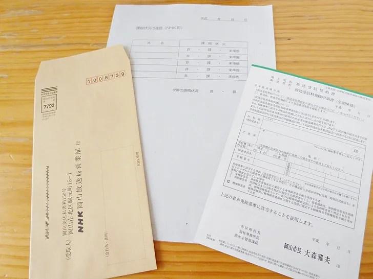福祉センターからもらったNHK受信料全額免除申請書