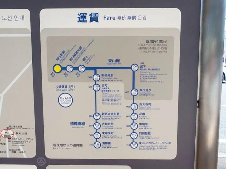 岡山電気軌道 運賃表