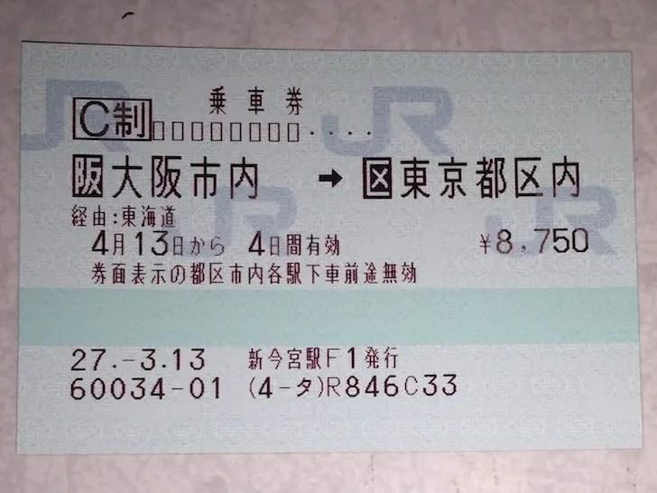 大阪市内発の乗車券