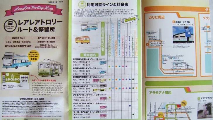 ハワイ・オアフ島のHISのレアレアトロリー(バスの一般料金)