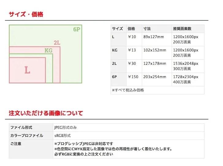 コストコのオンラインラボ(フォトプリントの写真サイズの指定画面)