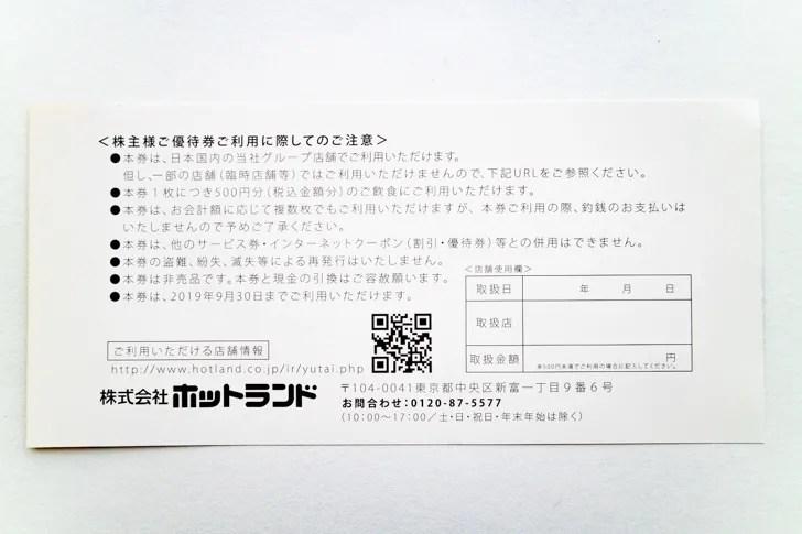 ホットランド(3196)2019株主優待(裏)