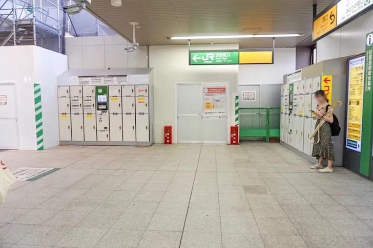 JR日暮里駅北改札口外のコインロッカー全体図