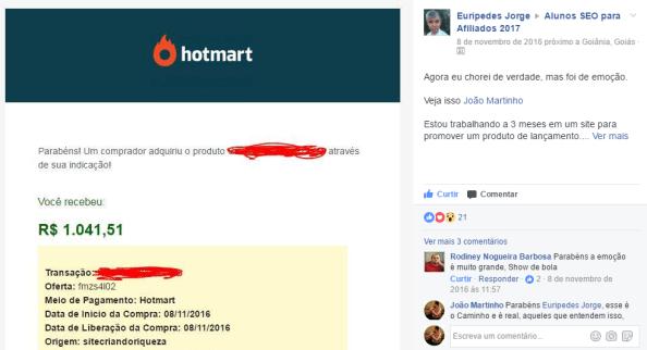 Comissão de mais de 1 mil reais Hotmart