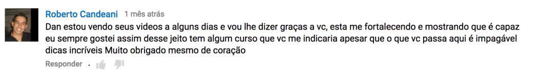 Comentário no canal Youtube Dan Cortazio
