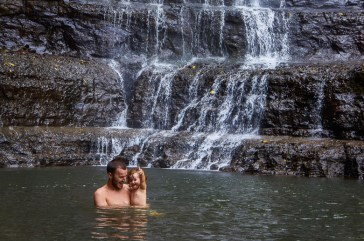 Cooling off at Juan Curi waterfall near San Gil, Colombia