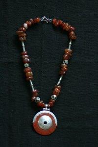 Tuareg necklace carnelian and antique tuareg beads