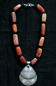 Tuareg silve and bronze amulet, agate stones