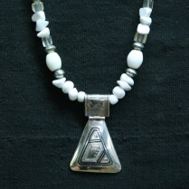Tuareg silver triangular amulet, Agate, Camel bone and white marble. 16""