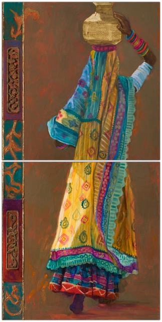 gujaratiyellowsari 48 x 24 oil and antique carvings on panel diptych.