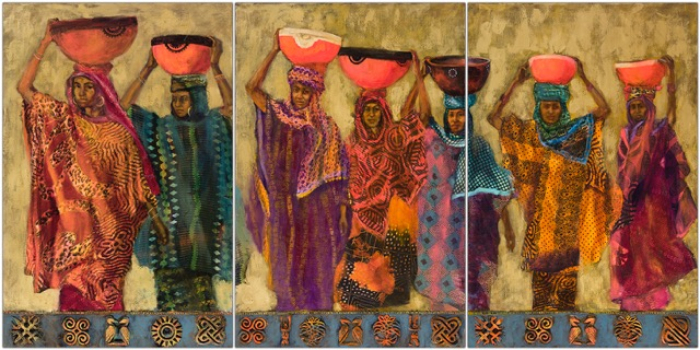 """36 x 72"""" triptych oil, fabric collage and cast fabric stamps and carvings on canvas"""