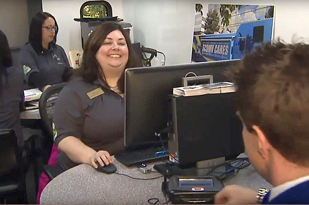 SCDMV employee helping customer