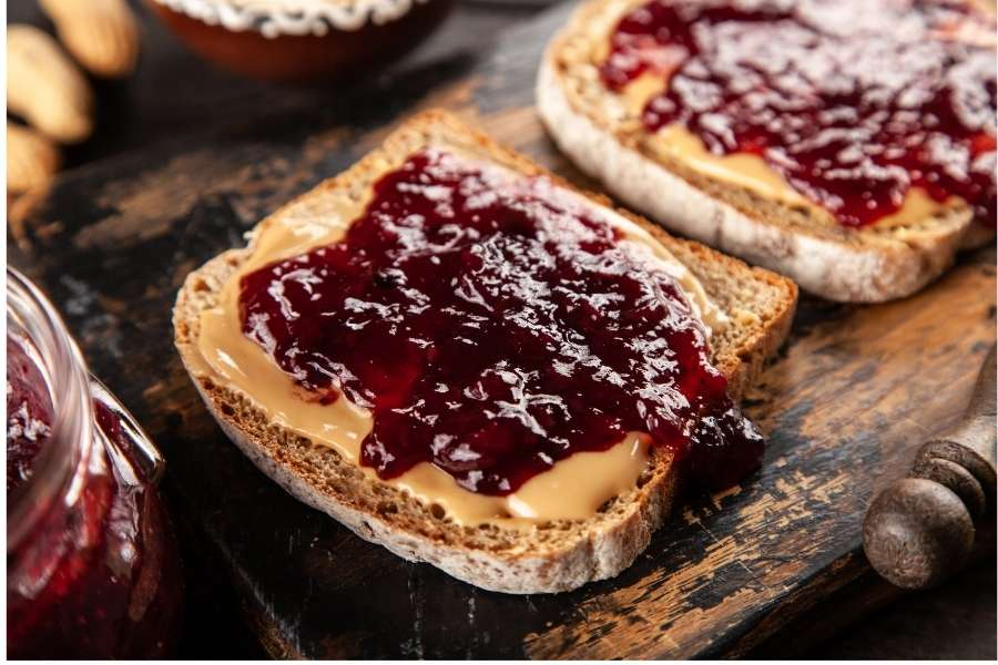 Peanut butter and jam sandwiches
