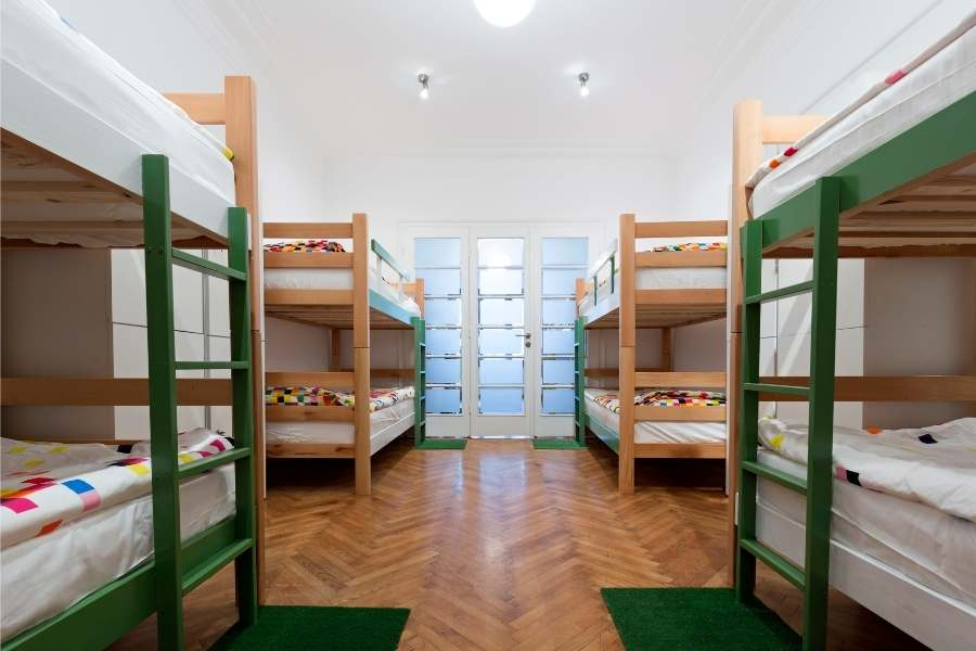 Save money travelling through Europe - Hostel room