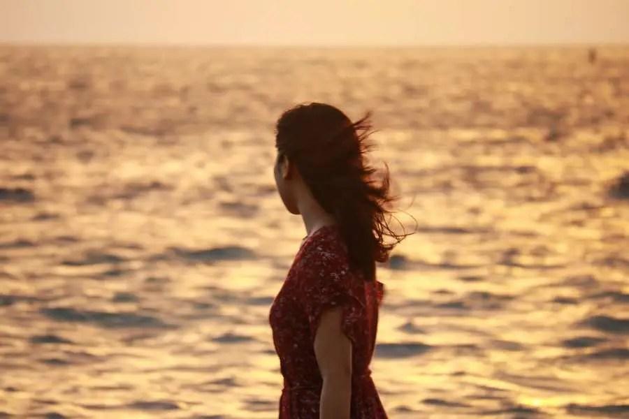 beach walk sunset