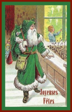 Father Christmas in green robes