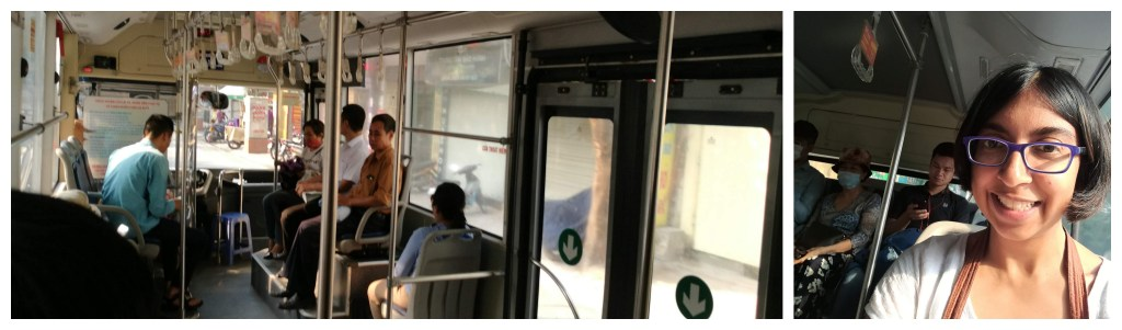 Public bus to the airport with big windows and ample space