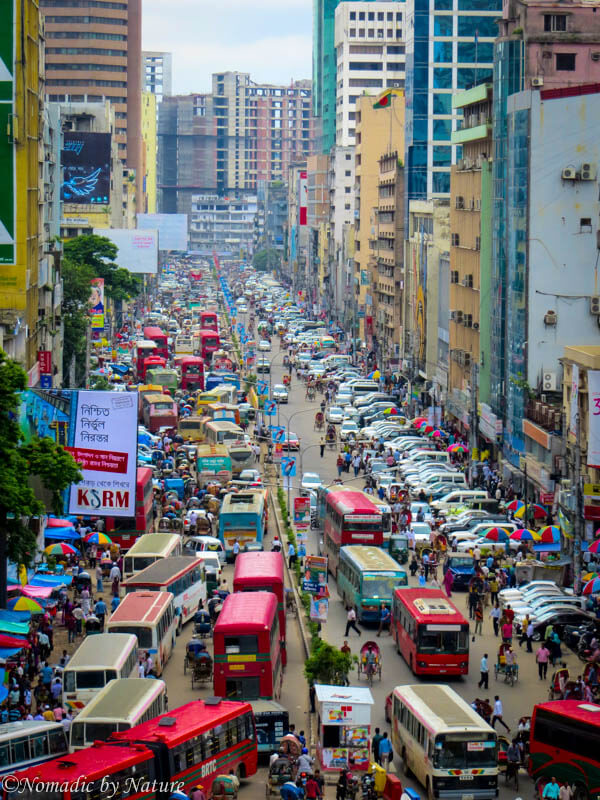 Mid-Day Traffic in Dhaka, Bangladesh