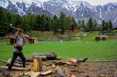 Chopping Firewood in Fairy Meadows