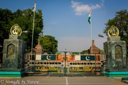 Wagah Border Gates with Flags Flying High