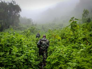 Following Our Military Guides up Bisoke Volcano, Rwanda