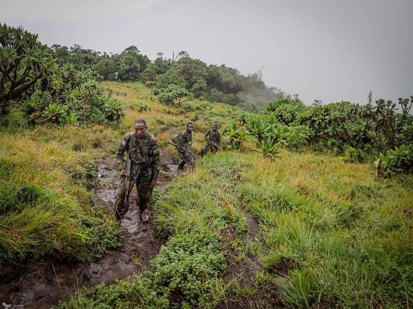 Our Rwandan Military Escort, Bisoke Volcano, Rwanda