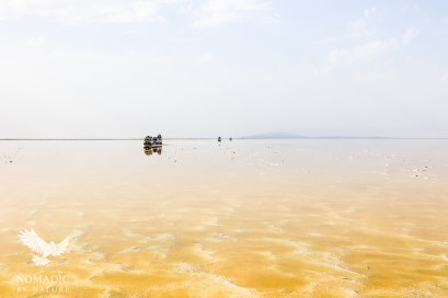 Driving Over the Flooded Salt Pans, Danakil Depression, Ethiopia