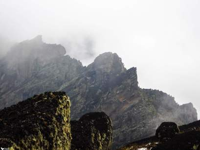 The Jutting Rock Face on the Congolese Border, Rwenzori Mountains National Park