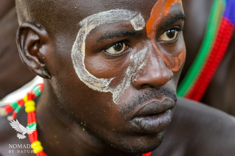 The Painted Face of a Hamar man at the Bull Jumping Ceremony, Ethiopia