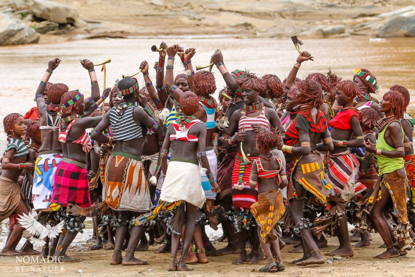 Hamar Women Chant and Dance at the Bull Jumping Ceremony, Ethiopia