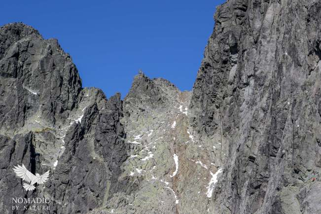 Mountain Climbers, See two small climbers on the right, and a group at the mountain top on the left, High Tatras, Slovakia