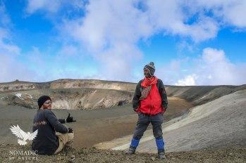 Sitting on the Edge of the Ash Pit, Mount Kilimanjaro, Tanzania