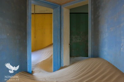 Soft Dunes in a Colorful House, Kolmanskop Ghost Town, Namibia