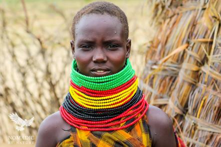 A Young Turkana Girl Decorated in Traditional Beads, Lake Turkana, Kenya