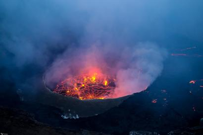 Nyiragongo Lava Lake at Sunset, Virunga National Park, DR Congo